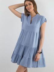 Sukienka z falbaną niebieska