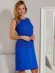 Sukienka z koronkową górą kobaltowa