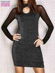 Sukienka z siateczkowymi rękawami czarna