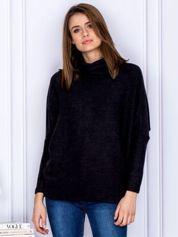 Sweter czarny z miękkim kołnierzem