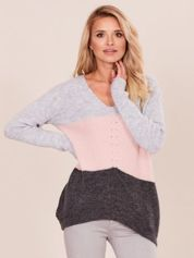Sweter damski w kolorowe pasy szaro-różowy
