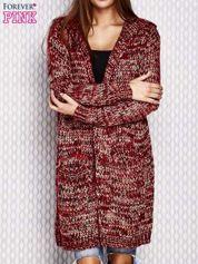 Sweter z kapturem melanżowy bordowy