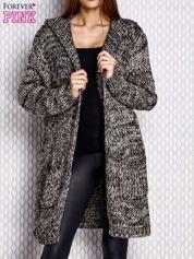 Sweter z kapturem melanżowy czarny