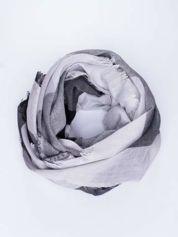 Szara bawełniana chusta damska duża w pasy