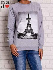 Szara bluza z motywem Wieży Eiffla
