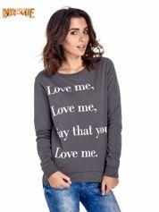 Szara bluza z napisem LOVE ME i dłuższym tyłem
