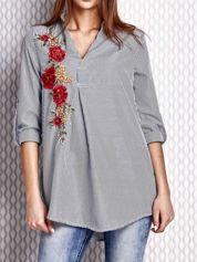 Szara koszula w paski z kwiatową naszywką