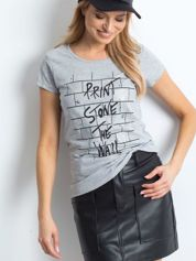 Szara koszulka damska z nadrukiem