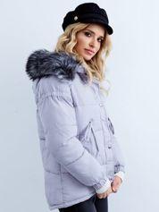 Szara kurtka zimowa pikowana