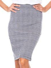 Szara ołówkowa spódnica w kratę