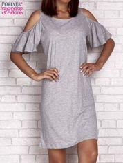 Szara sukienka z rękawami cut out