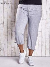 Szare dresowe spodnie capri z troczkami PLUS SIZE