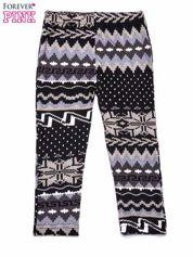 Szare legginsy dziewczęce z zimowym nadrukiem