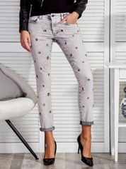 Szare spodnie z kółeczkami