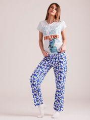 Szaro-granatowa piżama z nadrukiem w bałwanki