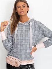 Szaro-jasnoróżowa lekka bluza w kratkę z kapturem i troczkami