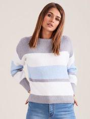 Szaro-niebieski sweter damski w paski