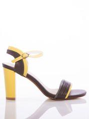 Szaro-żółte sandały Sabatina na słupku