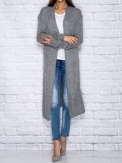 Szary długi wełniany sweter