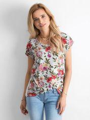 Szary kwiatowy t-shirt