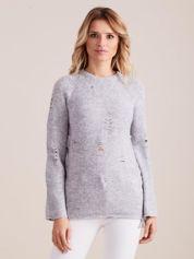 Szary luźny sweter ze sznurowaniem i szerokimi rękawami