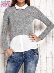 Szary melanżowy sweter z koszulą