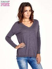 Szary sweter V-neck z rozporkami