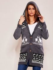 Szary sweter z kapturem w norweskie wzory
