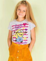 Szary t-shirt dla dziewczynki MINIONKI