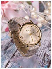 Szary zegarek damski na skórzanym lakierowanym pasku