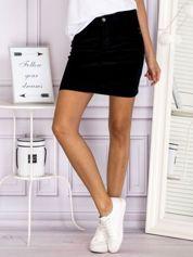 Sztruksowa klasyczna spódnica z kieszeniami czarna