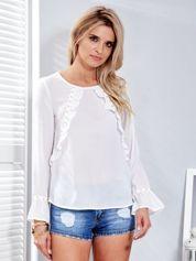 Szyfonowa bluzka z falbankami i aplikacją biała
