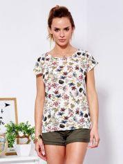 T-shirt beżowy z kolorowym kwiatowym printem