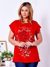 T-shirt czerwony z różą PLUS SIZE