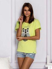T-shirt damski z cekinową sową limonkowy