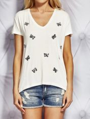 T-shirt damski z cekinowymi motylami ecru