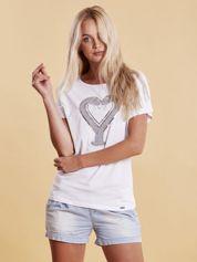 T-shirt damski z motywem węży biały