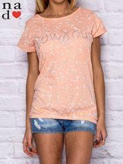 T-shirt damski z napisem BONJOUR pomarańczowy