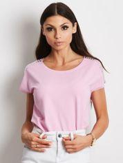 T-shirt fioletowy z aplikacją