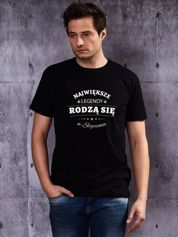 T-shirt męski z nadrukiem NAJWIĘKSZE LEGENDY STYCZNIA czarny