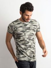 T-shirt męski z nadrukiem militarnym