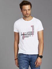 T-shirt męski z tłoczonym nadrukiem biały