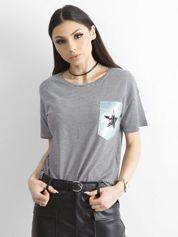 T-shirt w paski z aplikacją czarno-biały