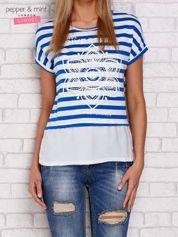T-shirt w paski z nadrukiem kobaltowy