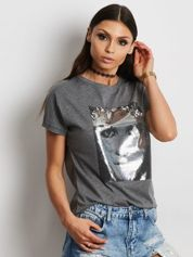 T-shirt z błyszczącym nadrukiem twarzy ciemnoszary