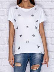 T-shirt z cekinowymi motylami biały