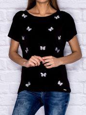 T-shirt z cekinowymi motylami czarny