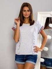 T-shirt z falbankami i ozdobną lamówką szary