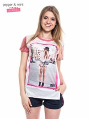 T-shirt z nadrukiem modelki i dłuższym tyłem