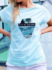 T-shirt z nadrukiem morza turkusowy